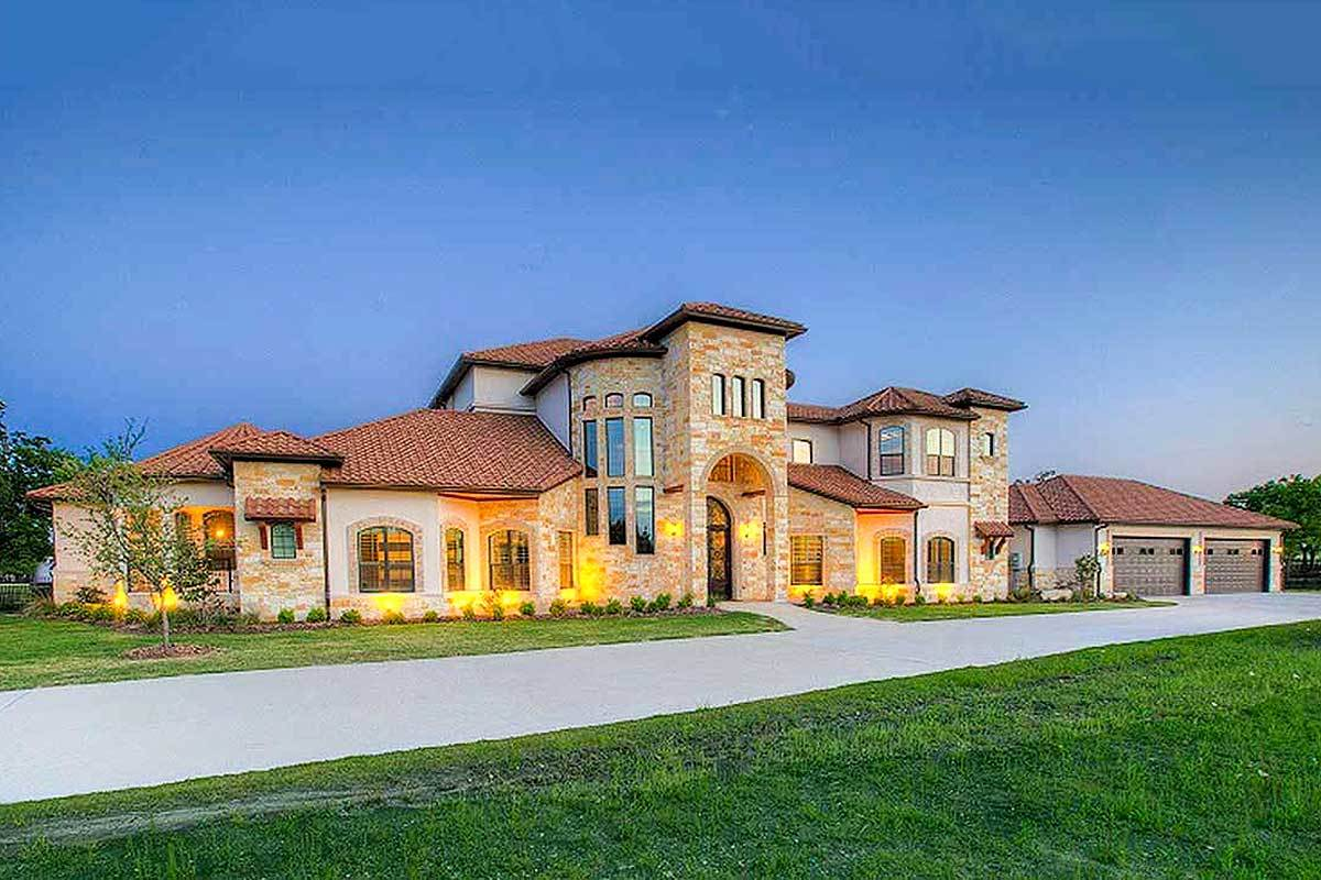 Two-Story 5-Bedroom Mediterranean Home with Ultimate Media Room