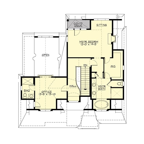 Upper level floor plan with office and a primary suite complete with a sitting area and a private deck.