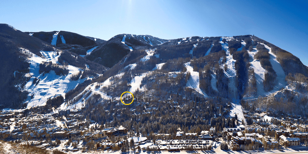 This is an aerial view of the whole area with a yellow circle depicting the where the house is. Image courtesy of Toptenrealestatedeals.com.