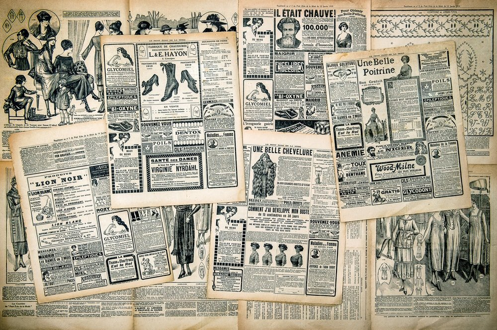 Vintage newspaper advertising.