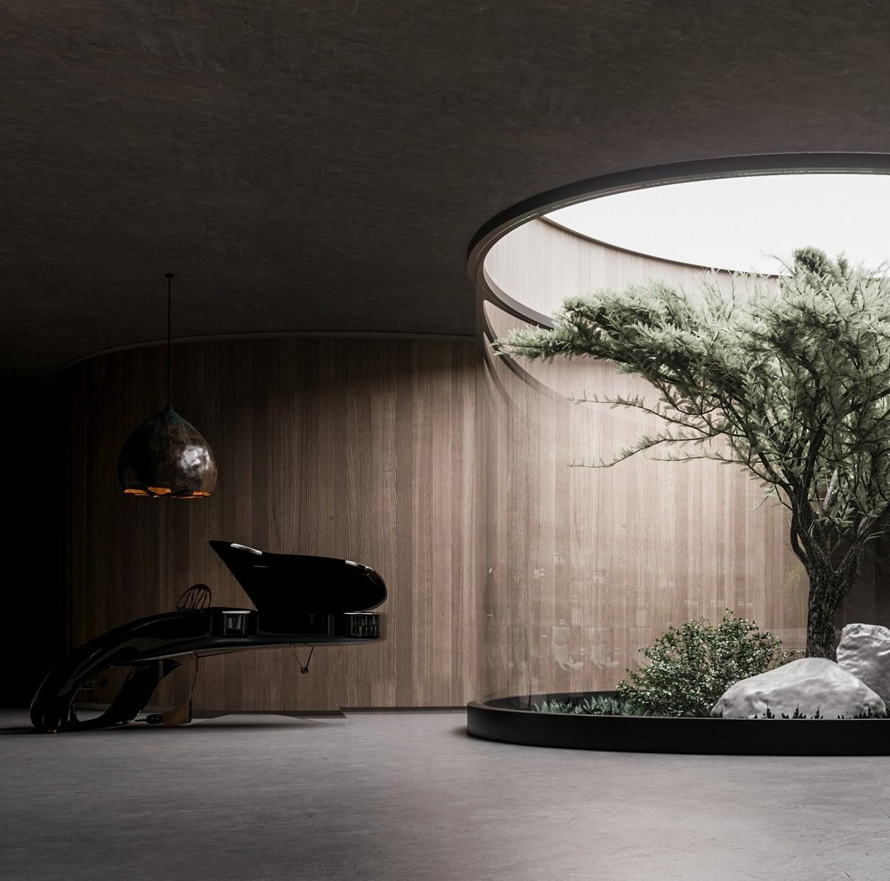 On the other side of the terrarium is a modern grand piano with a sleek and unique design topped with a large dome pendant light.