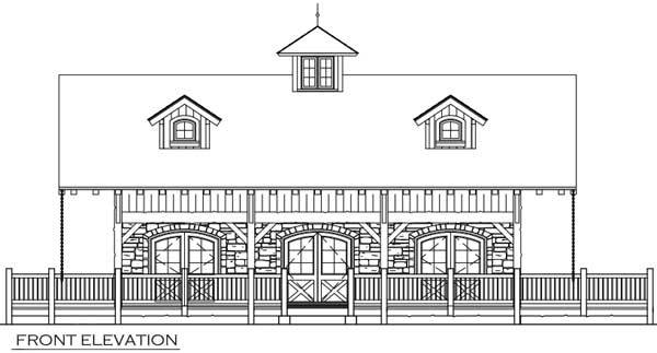 Front elevation sketch of the 1-bedroom single-story rustic shelter.