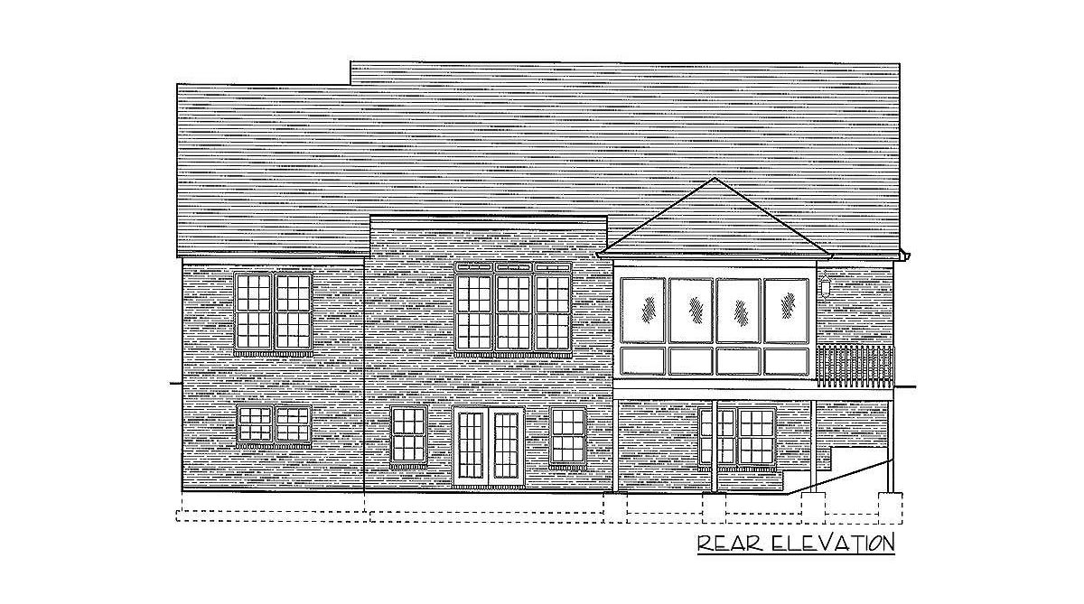 Rear elevation sketch of the 1-bedroom single-story Southern home.