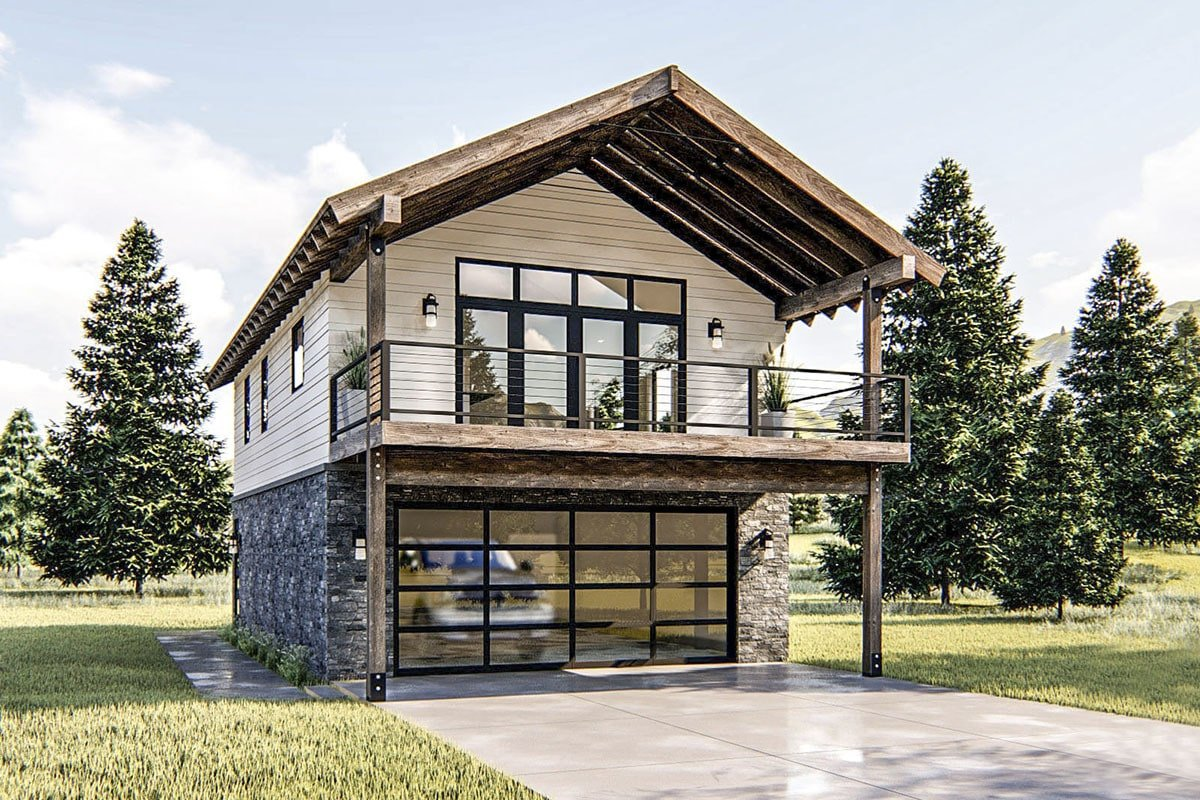 1-Bedroom Two-Story Modern Rustic Garage Apartment with Vaulted Interior