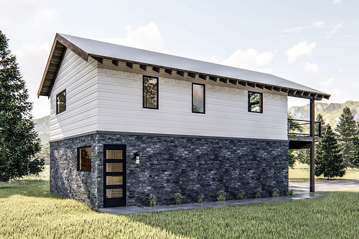 Side exterior view showing the horizontal lap siding and stone brick exterior.