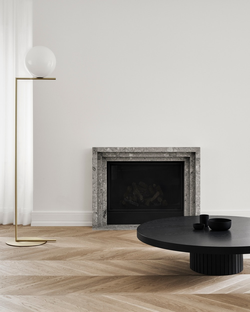 On the side of the fireplace is a standing lamp with a unique and stylish design.