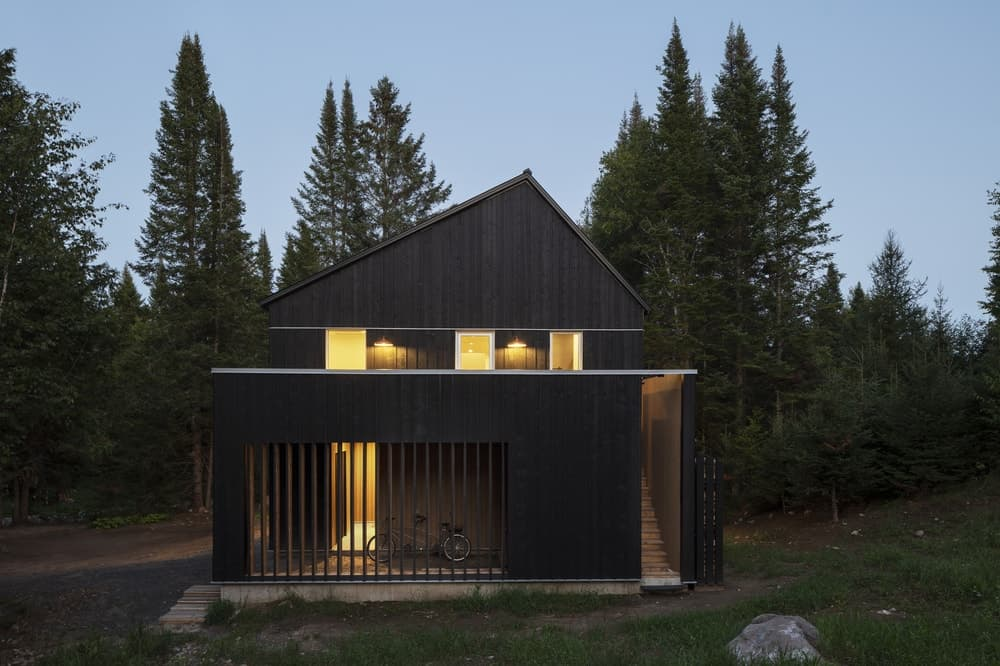 This is a view of the side of the house showcasing its dark wooden exterior walls that contrast well with the warm glow of the windows and the wall-mounted lighting.