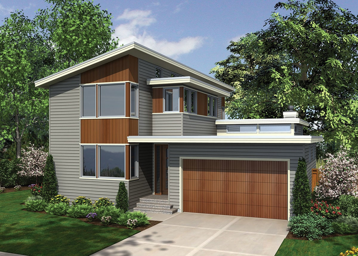 Front rendering of the house showing the glass corner windows, a sleek entry, and a double garage.
