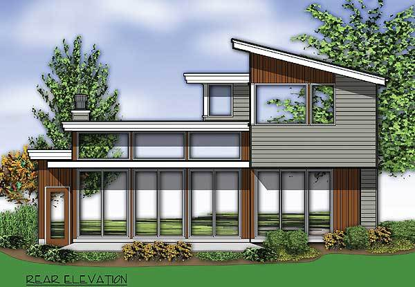 Rear elevation sketch showing the horizontal exterior siding, glass windows and doors, and flat rooflines.
