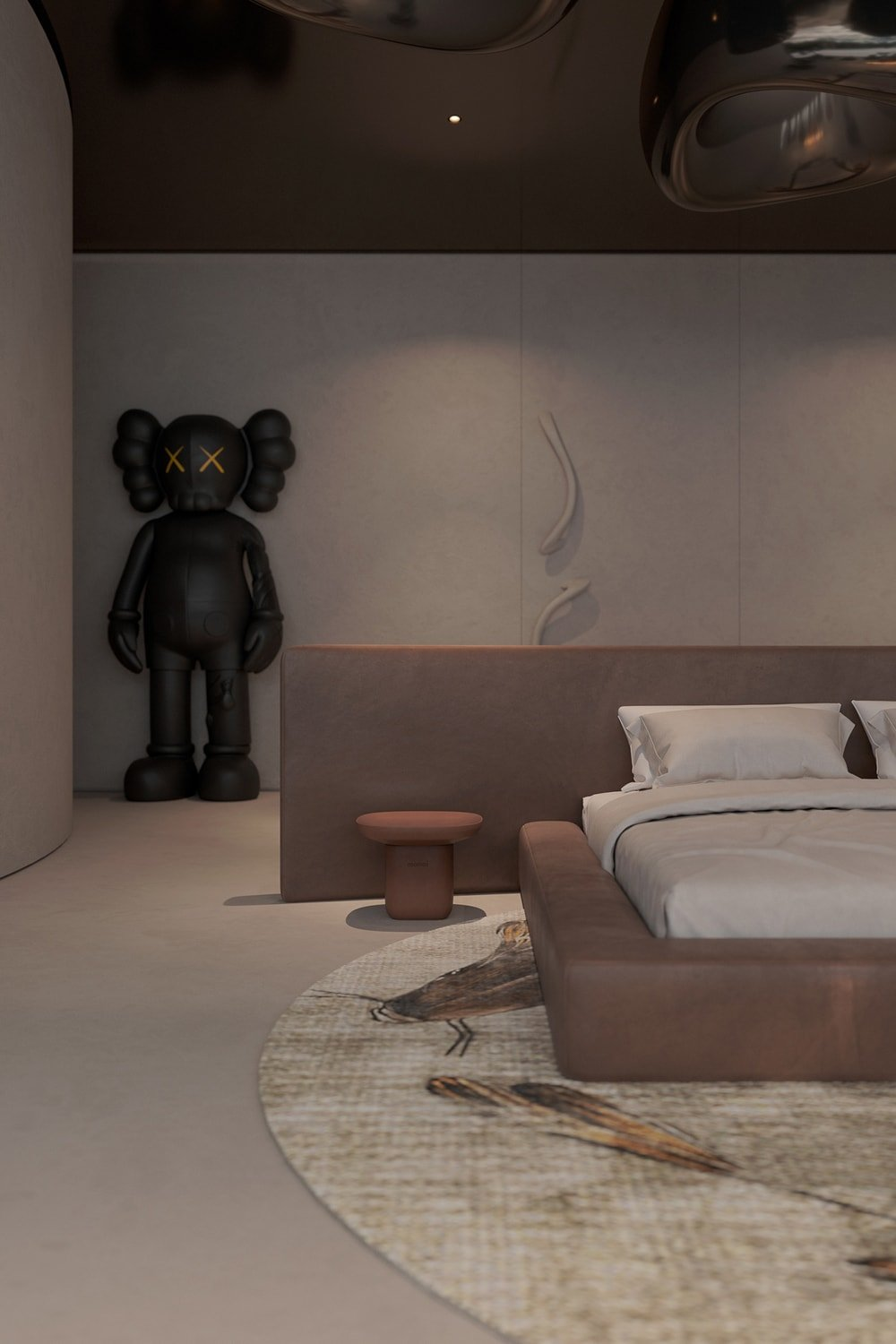 At the corner of the bedroom is a large statue that stands out against the wall with its dark tone. You can also see here the large area rug underneath the bed.