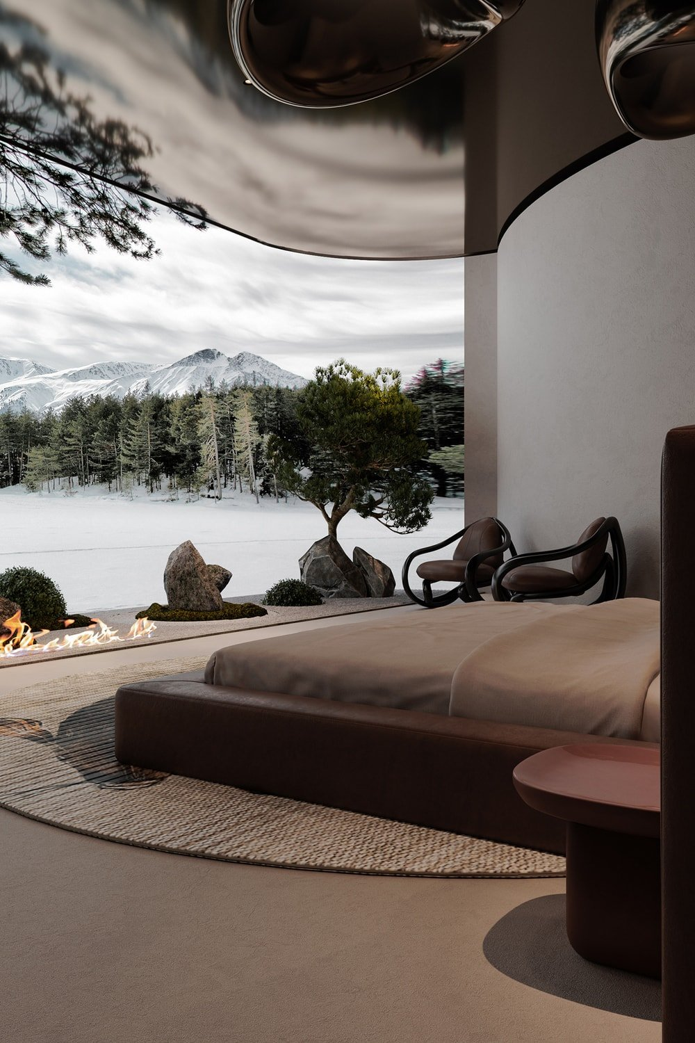 The curved wall across from the bed depicts an outdoor nature scene paired with a modern fire pit in the middle.