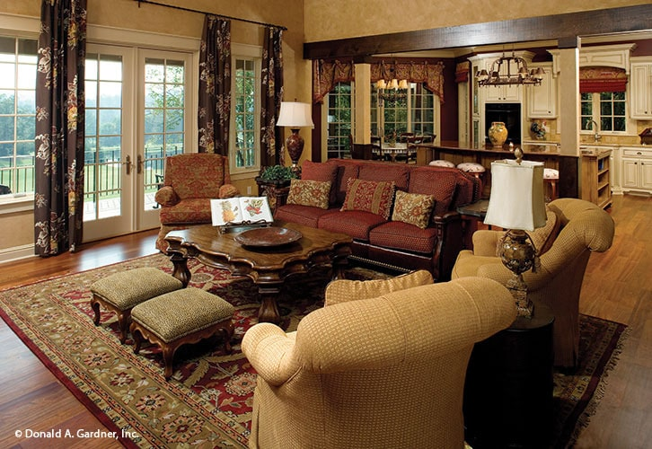 A white french door on the side opens out to the back porch.