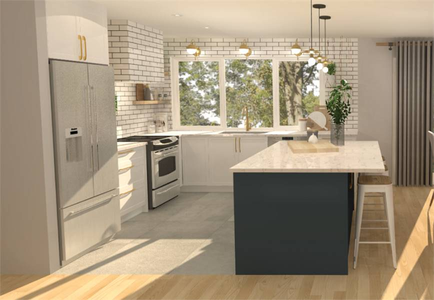 The kitchen is equipped with slate appliances, marble top island, subway tile backsplash, and white cabinets accented with brass hardware.
