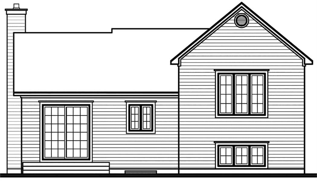 Rear elevation sketch of the 3-bedroom Scandinavian single-story Ramsay home.