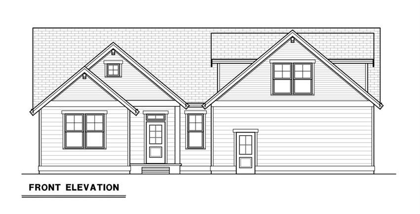 Front elevation sketch of the 3-bedroom single-story craftsman ranch.