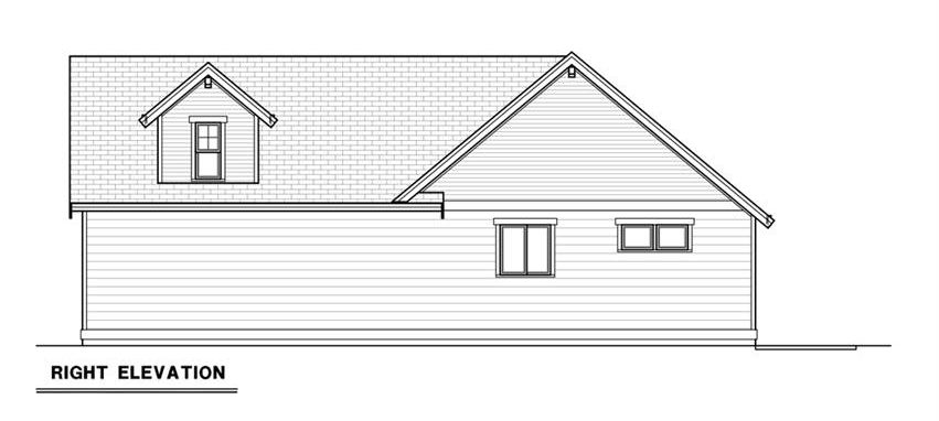 Right elevation sketch of the 3-bedroom single-story craftsman ranch.