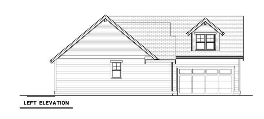 Left elevation sketch of the 3-bedroom single-story craftsman ranch.