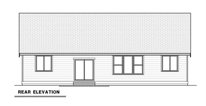 Rear elevation sketch of the 3-bedroom single-story craftsman ranch.
