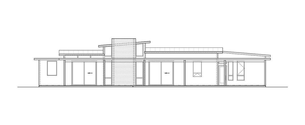 Rear elevation sketch of the 3-bedroom single-story mid-century modern home.