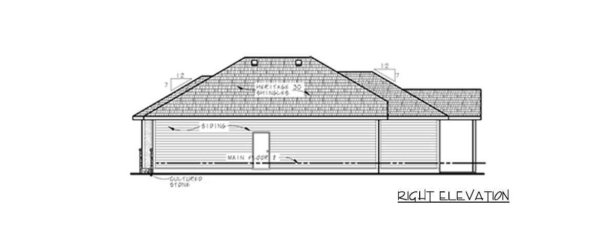 Right elevation sketch of the 3-bedroom single-story prairie home.