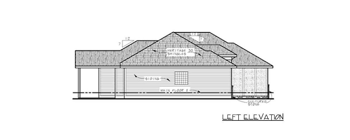 Left elevation sketch of the 3-bedroom single-story prairie home.