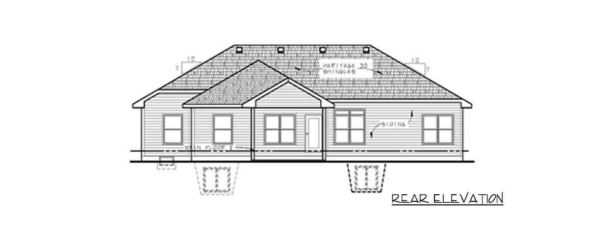 Rear elevation sketch of the 3-bedroom single-story prairie home.