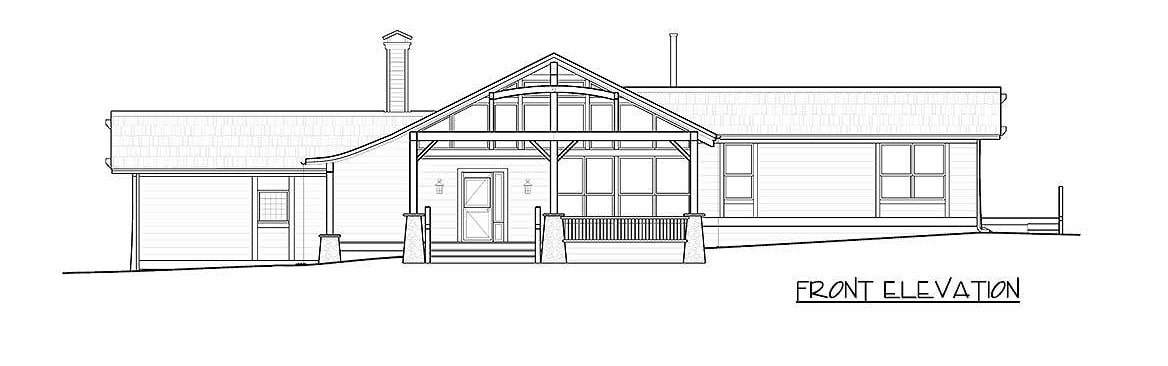 Front elevation sketch of the 3-bedroom single-story ranch.