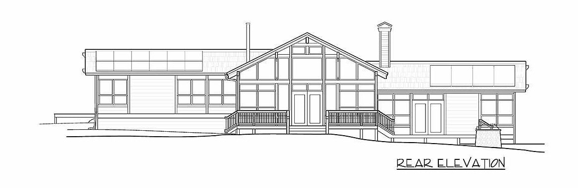 Rear elevation sketch of the 3-bedroom single-story ranch.