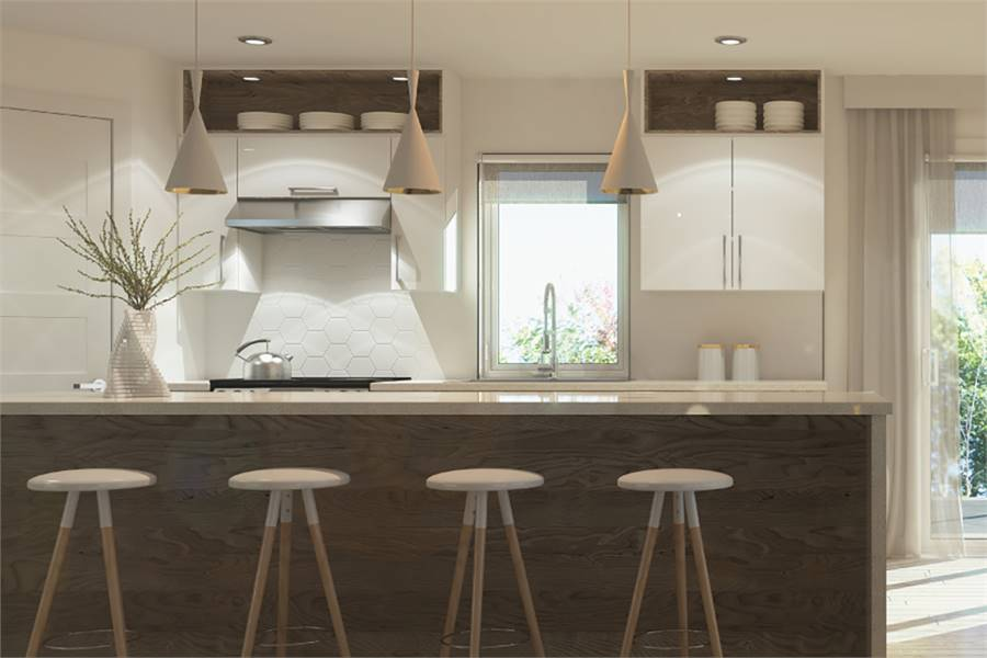 The kitchen has white high gloss cabinets, hexagonal tile backsplash, and a marble top breakfast bar complemented with glass dome pendants and round stools.