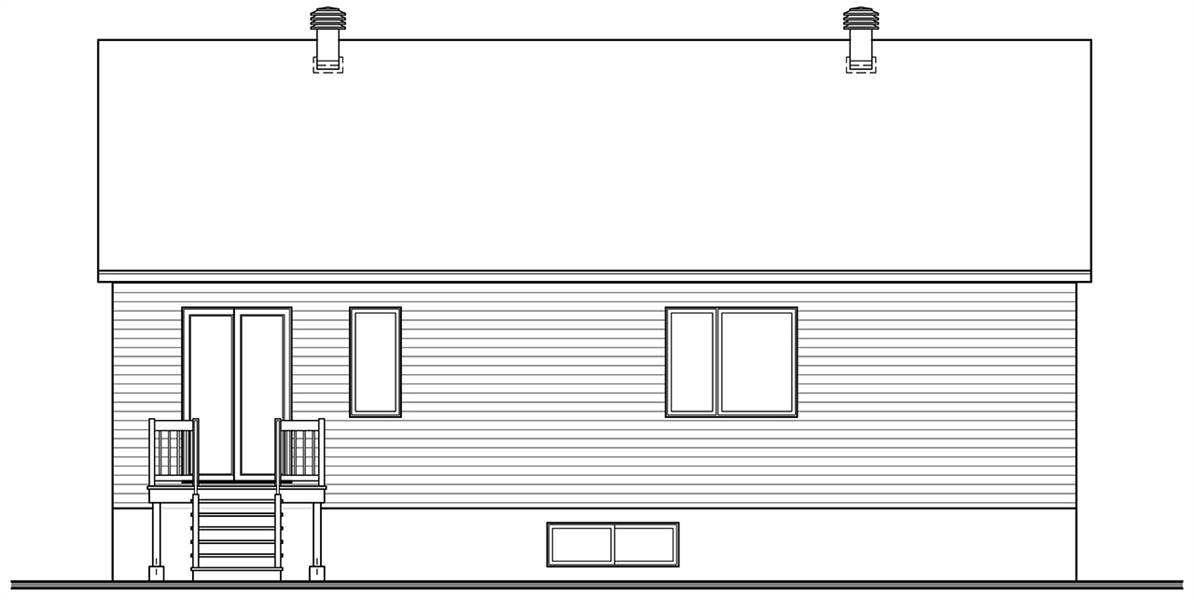 Rear elevation sketch of the 3-bedroom single-story Scandinavian style home.