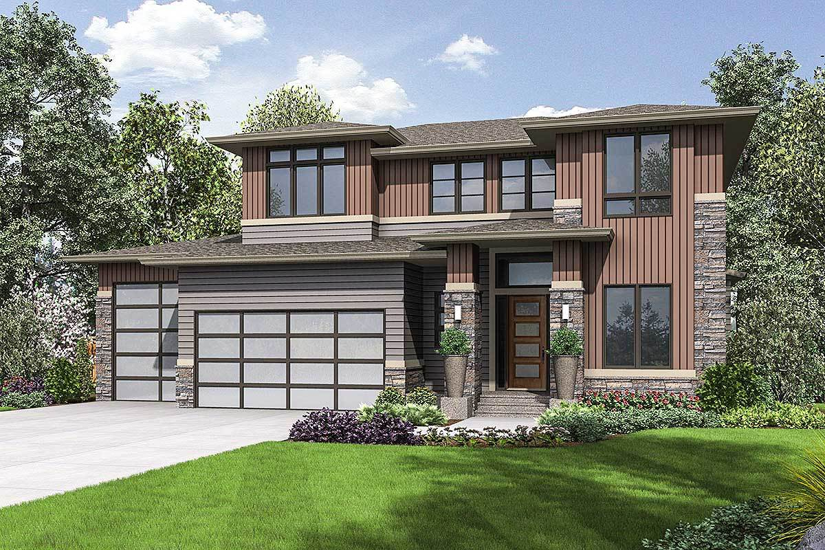 Front rendering of the 3-bedroom two-story prairie style home.