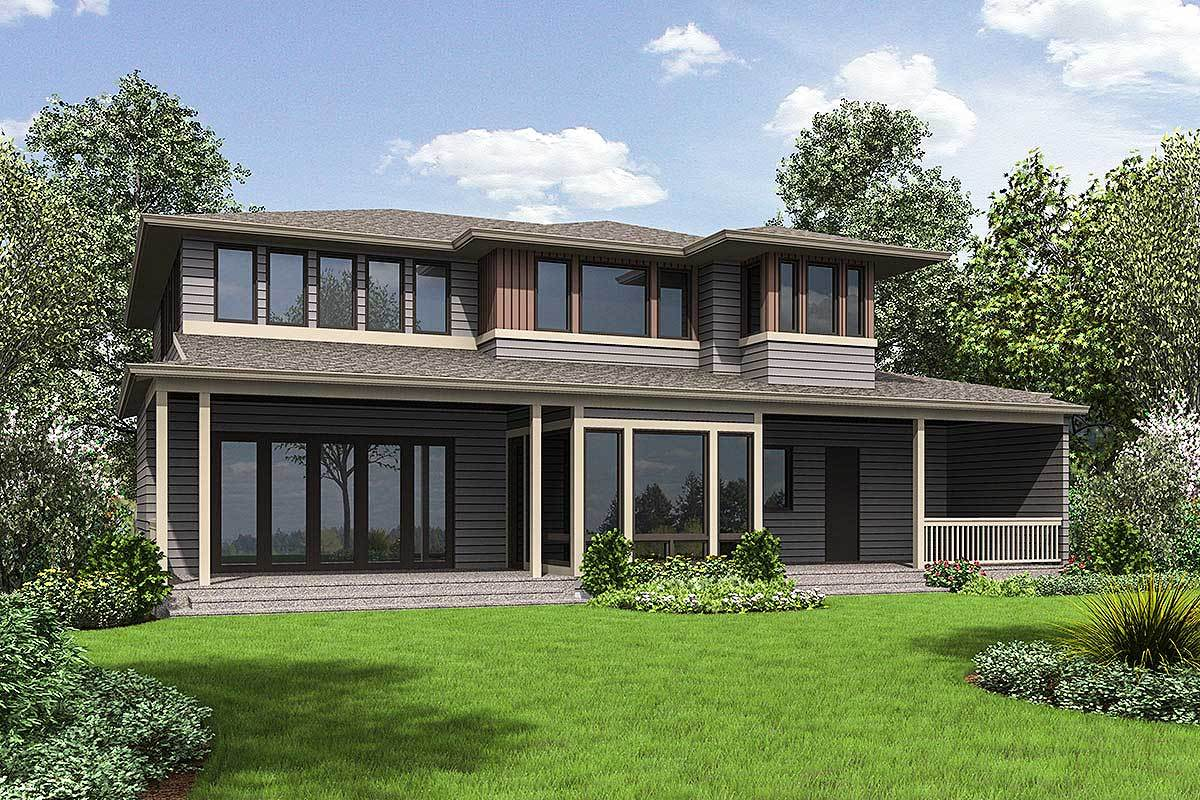 Rear rendering of the 3-bedroom two-story prairie style home.