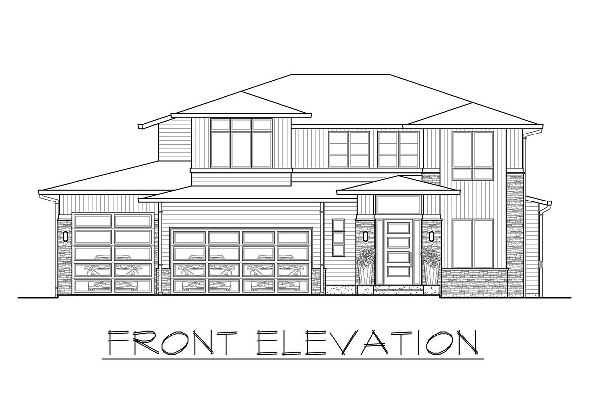 Front elevation sketch of the 3-bedroom two-story prairie style home.