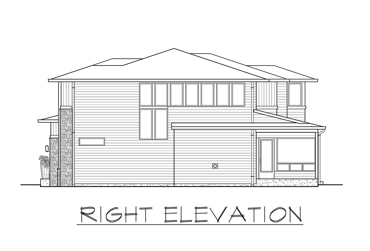 Right elevation sketch of the 3-bedroom two-story prairie style home.