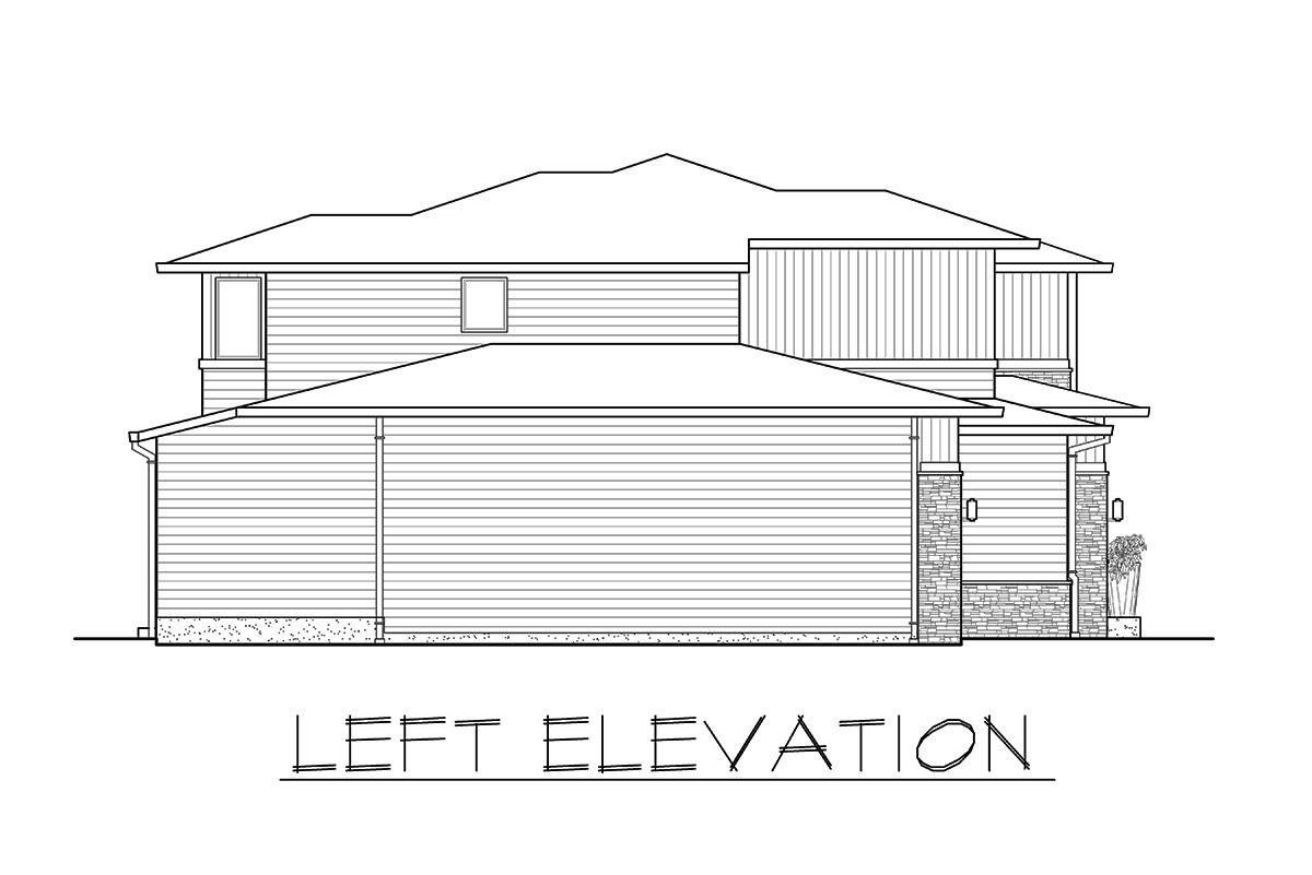 Left elevation sketch of the 3-bedroom two-story prairie style home.