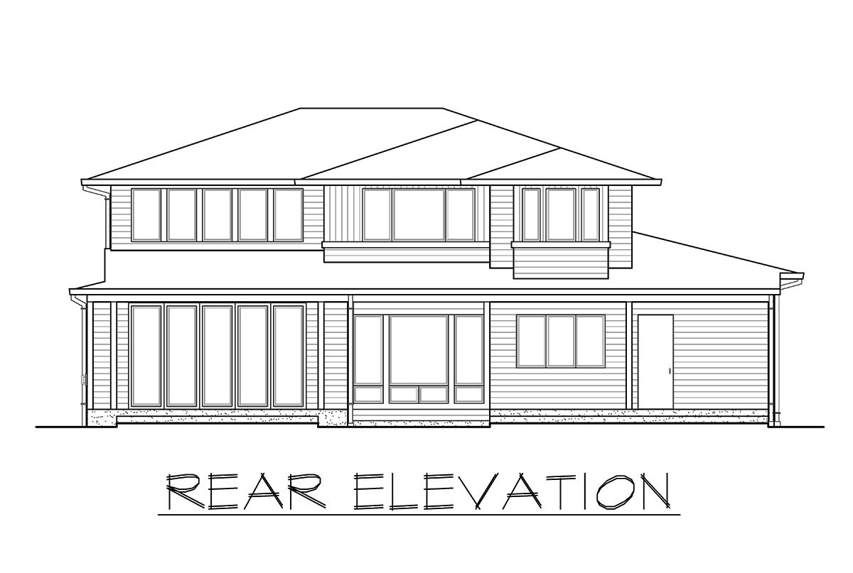 Rear elevation sketch of the 3-bedroom two-story prairie style home.