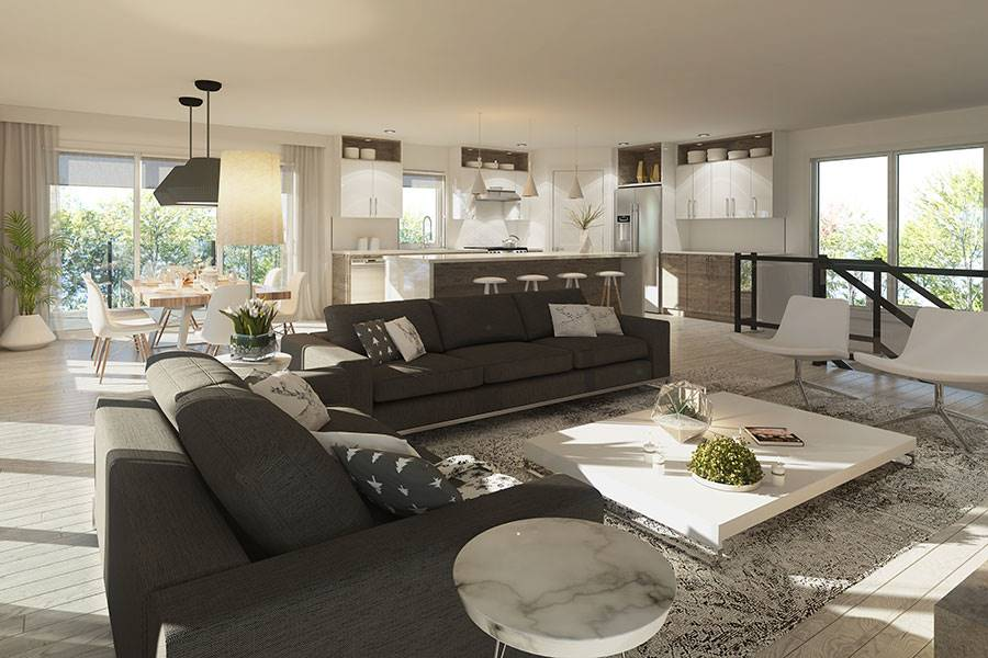 An open layout view showing the living room, dining area, and kitchen.