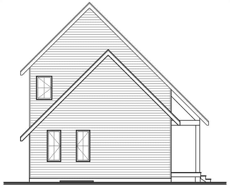 Rear elevation sketch of the 3-bedroom two-story Scandinavian style Willowgate home.