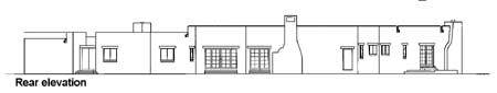 Rear elevation sketch of the 4-bedroom single-story adobe style home.