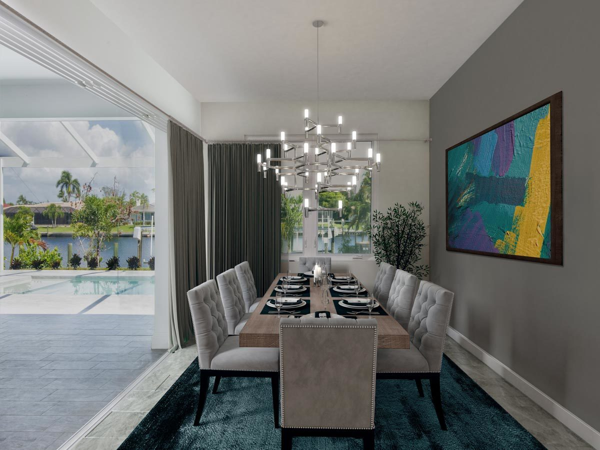 The dining room offers a rectangular dining table, gray tufted seats, and a contemporary chandelier.