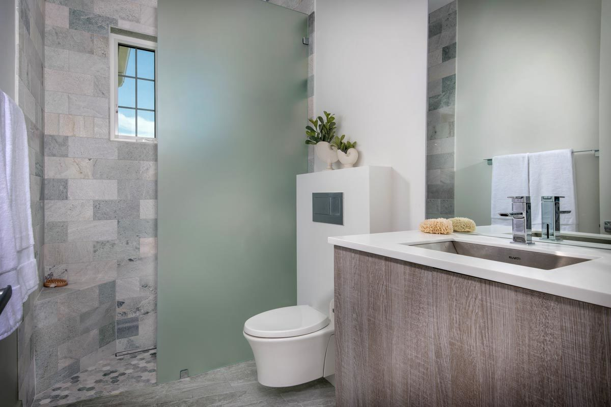 Bathroom with a sink vanity, wall-hung toilet, and a walk-in shower enclosed in a frosted glass panel.