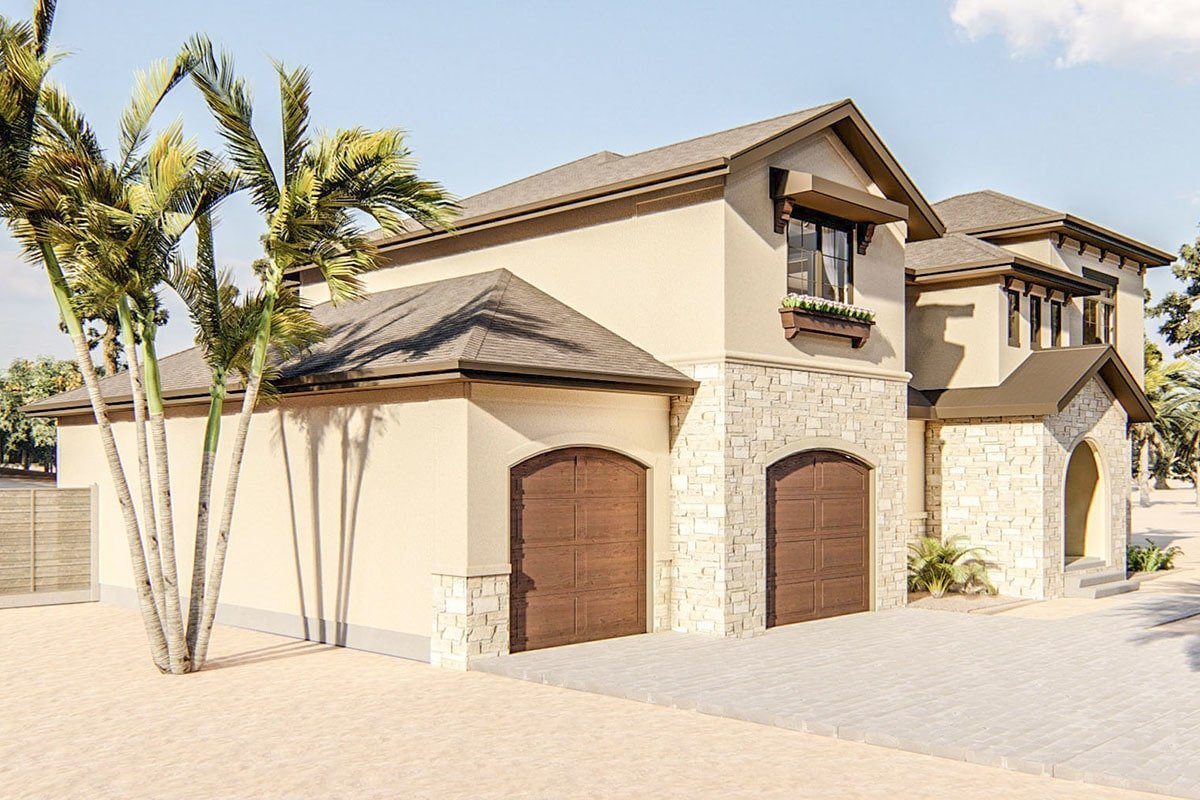 Left side view showcasing the home's double garage enclosed in wooden arched doors.
