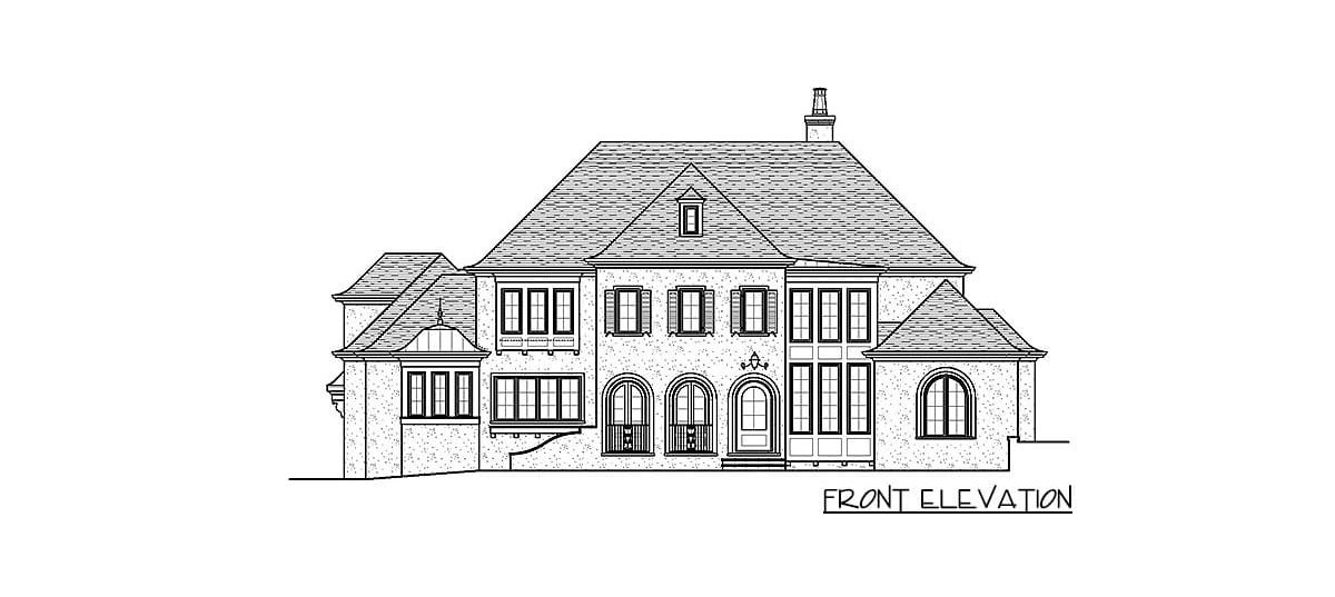 Front elevation sketch of the 4-bedroom two-story exclusive modern home.