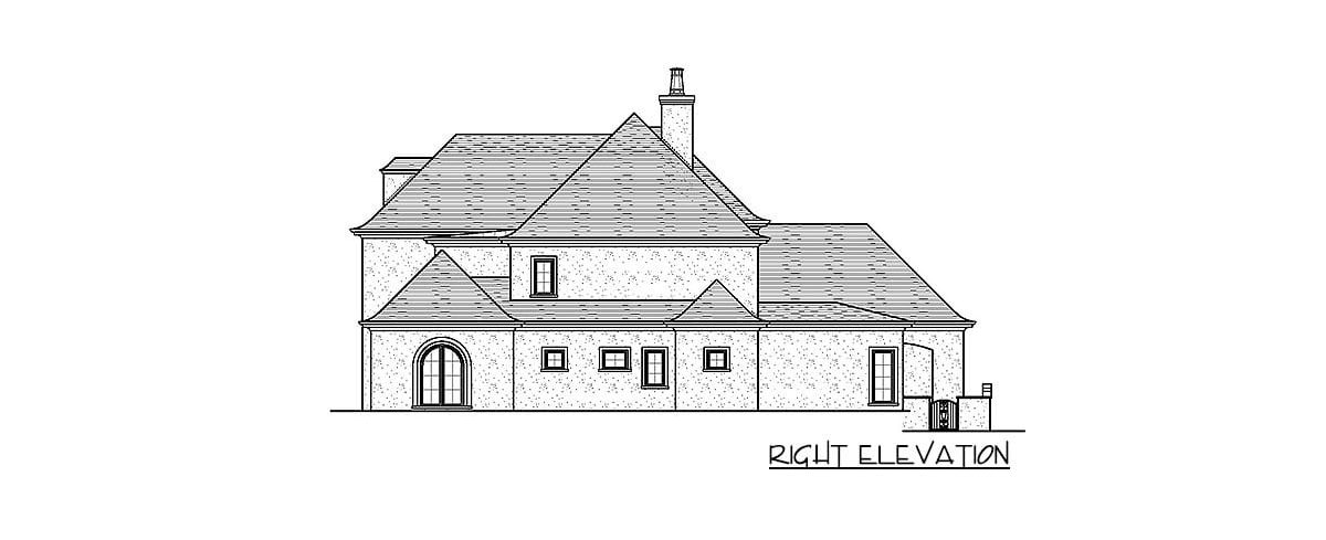 Right elevation sketch of the 4-bedroom two-story exclusive modern home.
