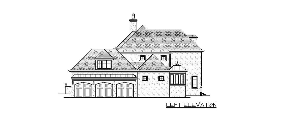 Left elevation sketch of the 4-bedroom two-story exclusive modern home.