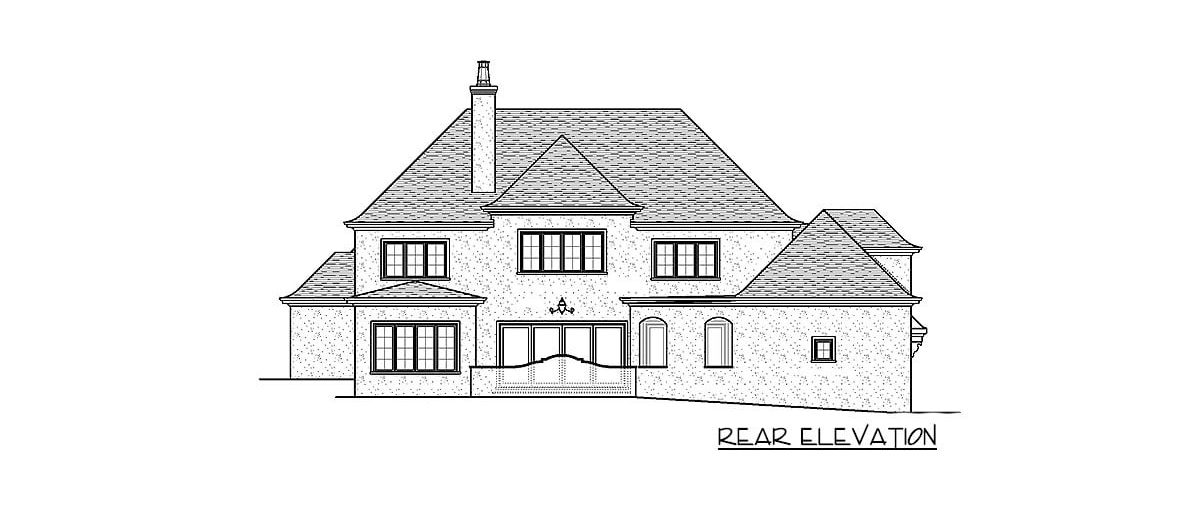 Rear elevation sketch of the 4-bedroom two-story exclusive modern home.