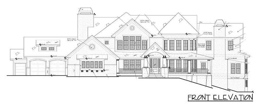 Front elevation sketch of the 4-bedroom two-story grand shingle-style home.