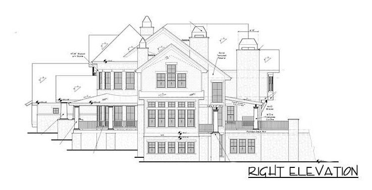 Right elevation sketch of the 4-bedroom two-story grand shingle-style home.