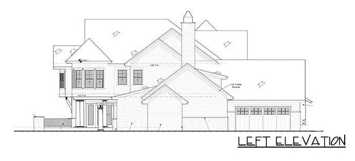 Left elevation sketch of the 4-bedroom two-story grand shingle-style home.