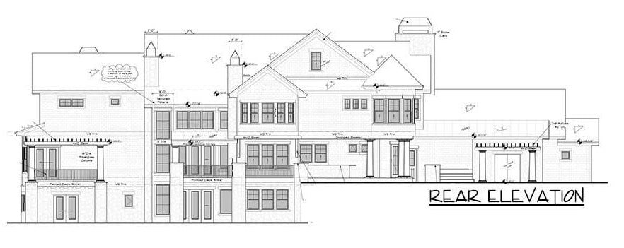 Rear elevation sketch of the 4-bedroom two-story grand shingle-style home.
